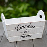 TERRA POTS Old Wooden Rectangle Bucket (White M)