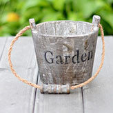 TERRA POTS Old Wooden Bucket (Dark Grey M)