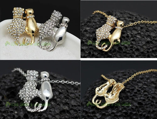 Cat Couple Pendant Necklace In Gold & Real Rhinestones