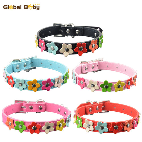 New Fashion Leather Cat Collar - One Row Sun Flower Studded