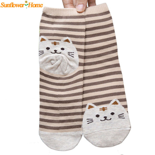 Cute Cartoon Cat Socks Striped - Women Cotton Sock