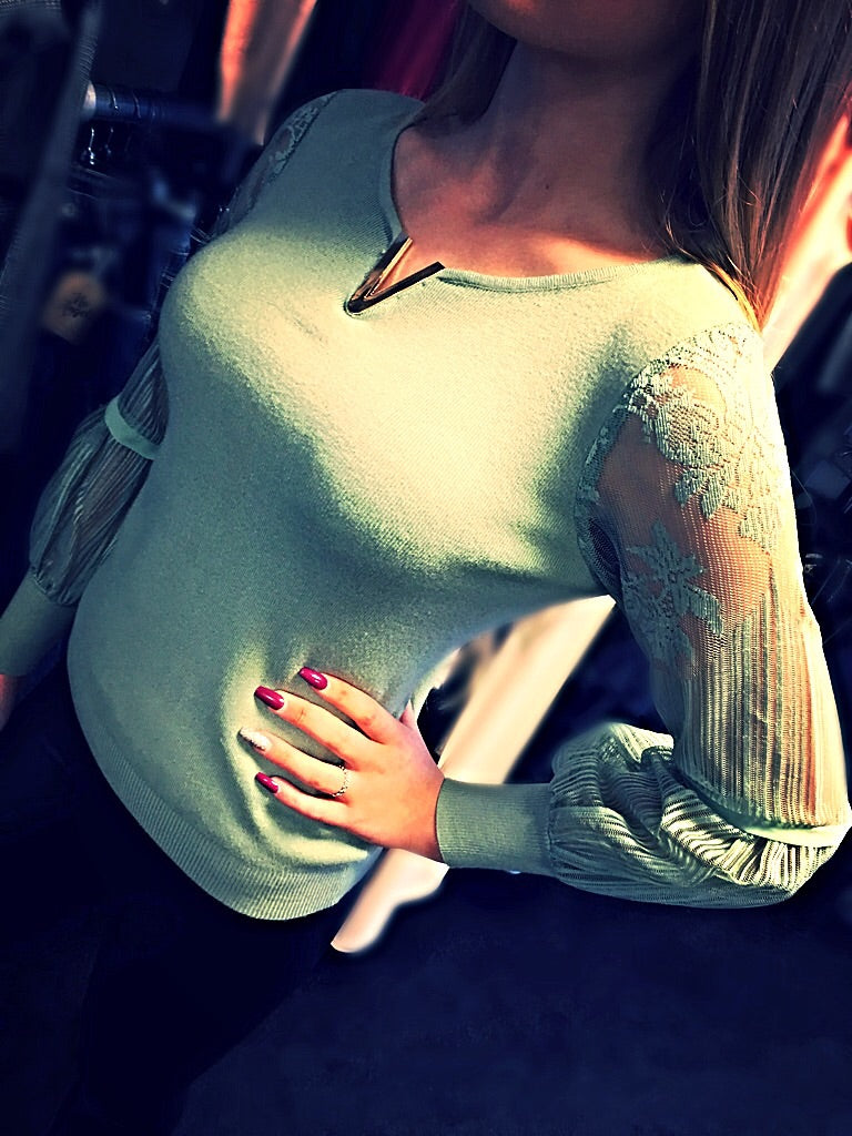 Pale Green Net Sleeve Jumper