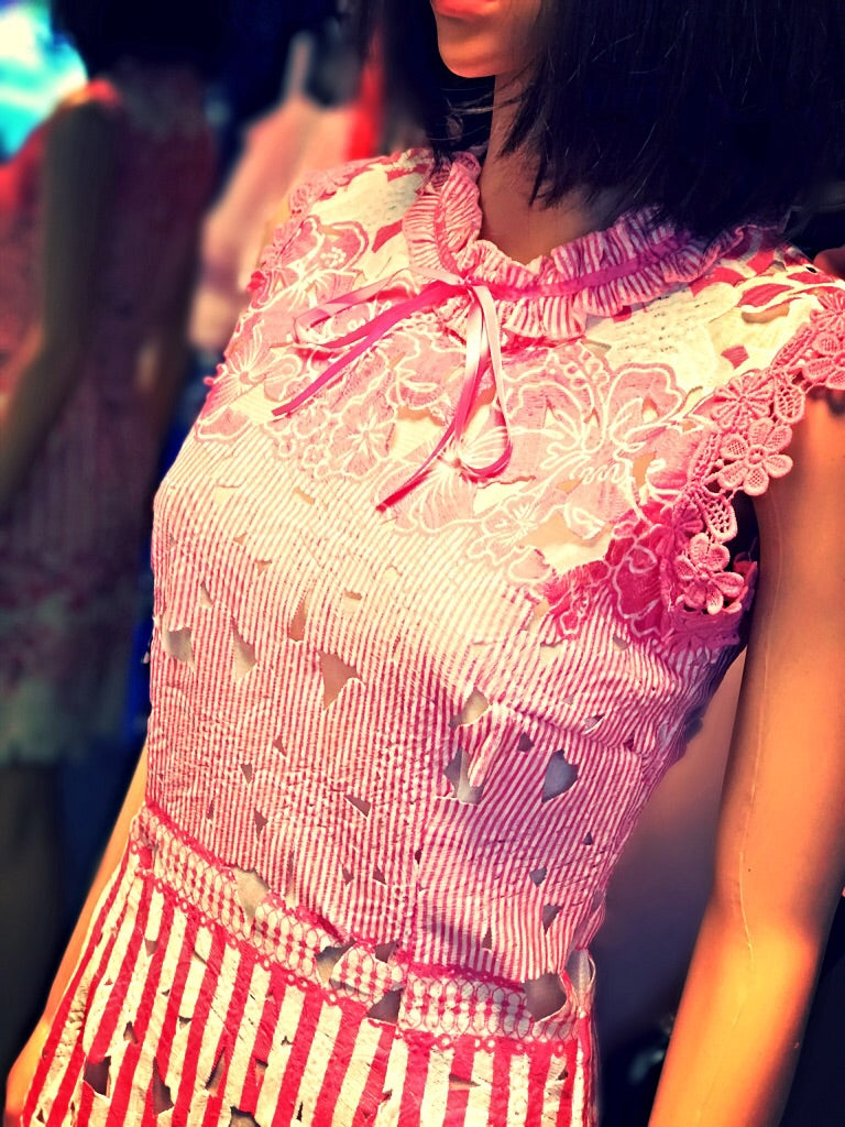 Pink & White Cut Out Detail Flower Dress.