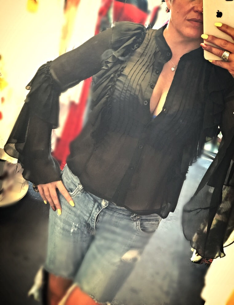 Black Sheer Frill Detail Blouse