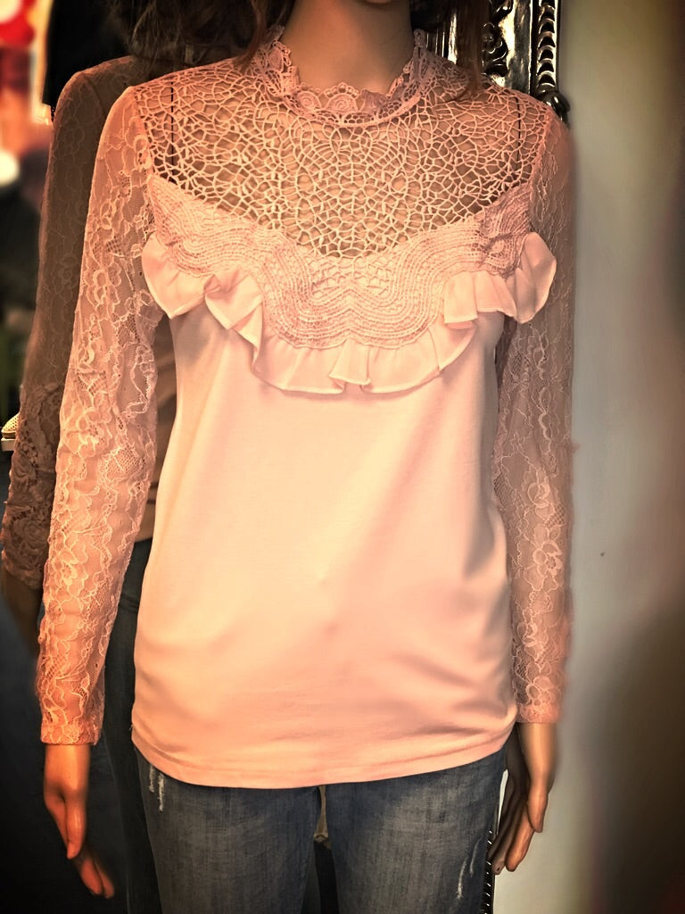 Pink Blush Lace & Frill Top