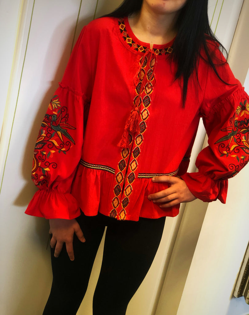 Red Embroidered Gypsy Jacket