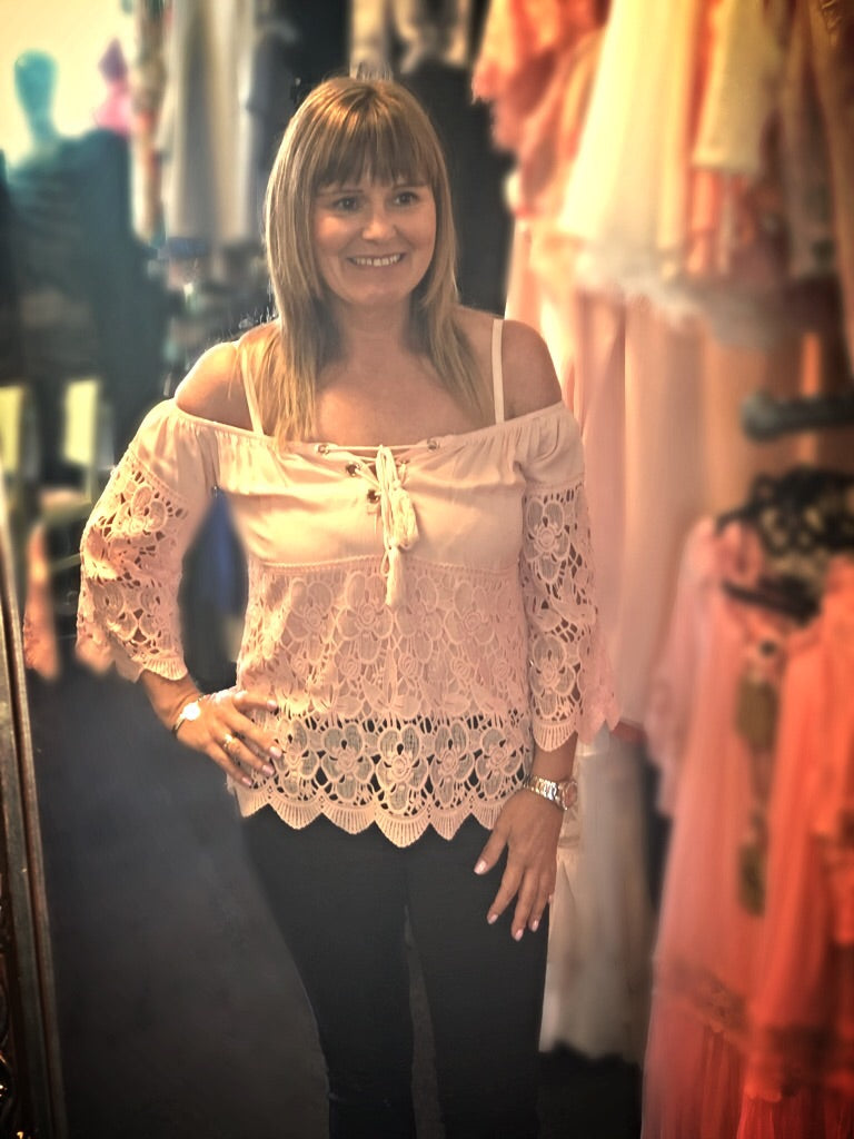 Peach Lace Bardot Top With Tie
