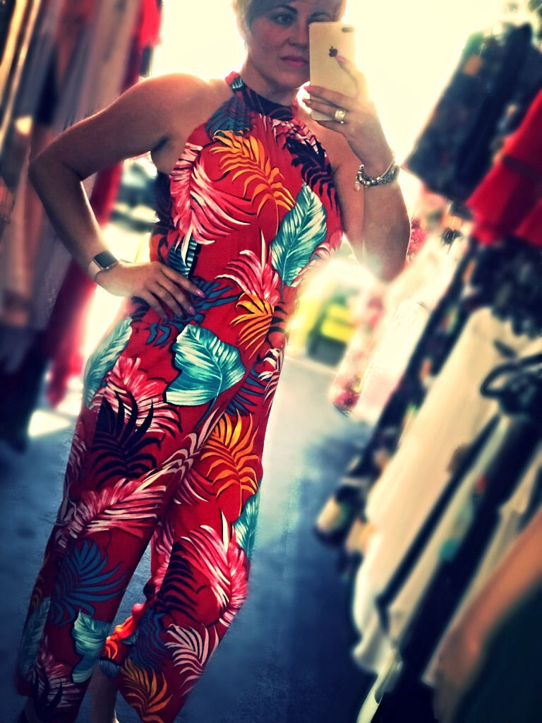 Tropical Leaf Jumpsuit
