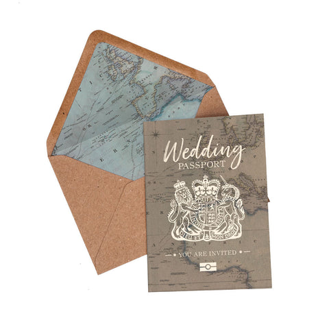 NEW Vintage Passport Travel Invitation Set