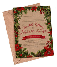 Winter Leaves A5 Flat Invitation