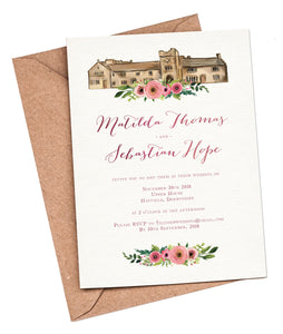 Watercolour Venue (Pink Flowers) A5 Flat Invitation