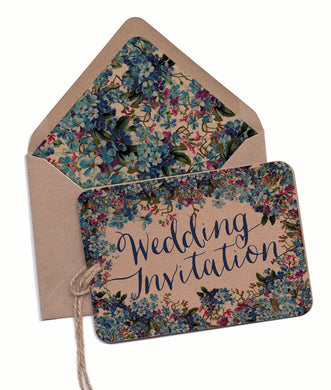 Forget-me-not Colour A6 Hand-tied invitation (3 cards)