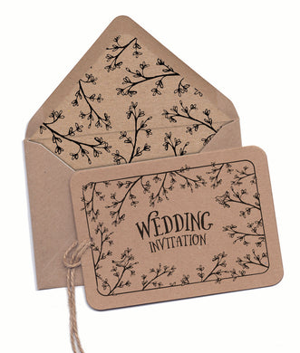 Secret Garden A6 Hand-tied invitation (3 cards)