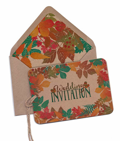 Autumn Leaves Colour A6 Hand-tied invitation (Kraft card) (3 cards)