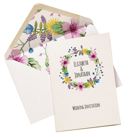 Watercolour Flowers A6 Folded Invitation