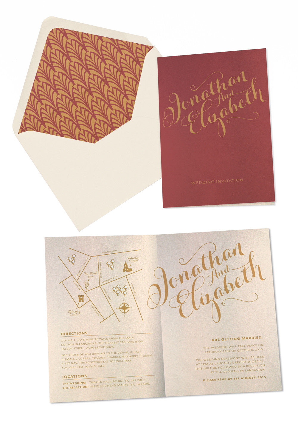 Gold Calligraphy A6 Folded Invitation – Paper Willow Stationery
