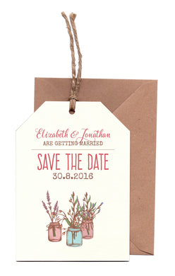 Jam Jars A6 Save The Date Luggage Tag & Envelope