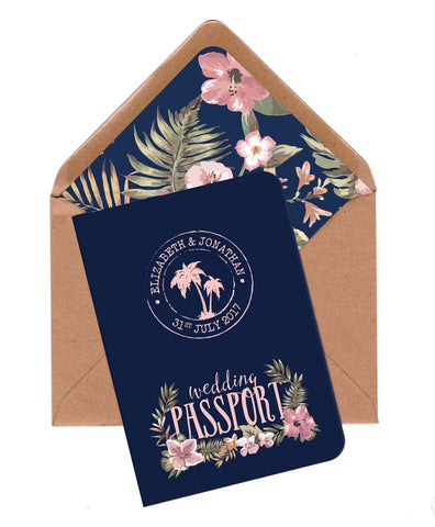 Tropical Travel A6 Folded Passport Invitation (Navy)
