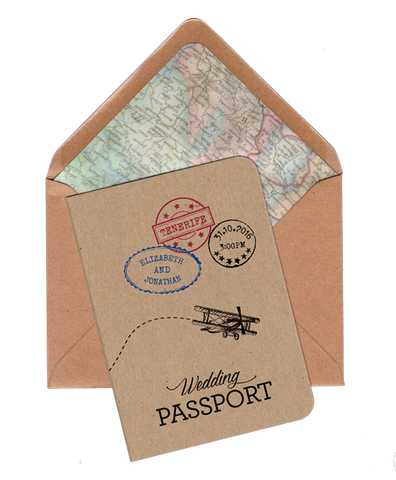 Vintage Travel A6 Folded Passport Invitation