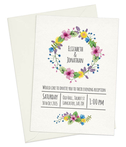 Watercolour Flowers A6 Evening Invitation