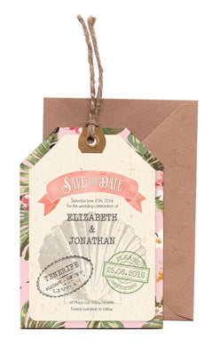 Tropical Travel A6 Save The Date Luggage Tag & Envelope