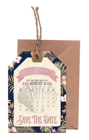 Tropical Travel A6 Calendar Save The Date Luggage Tag & Envelope