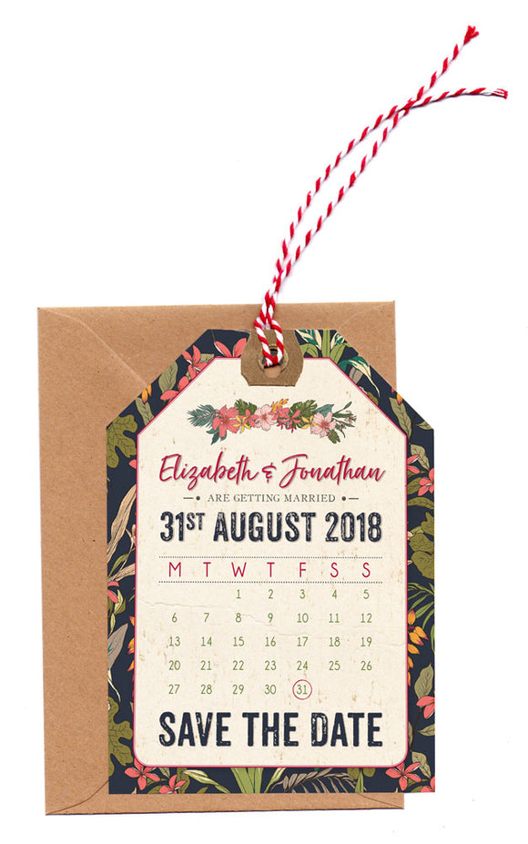 NEW Tropical Travel A6 Save The Date Luggage Tag & Envelope