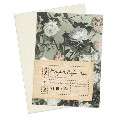 Paper & Roses A6 Save The Date card & Envelope