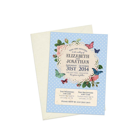 Butterfly Garden A6 Evening Invitation