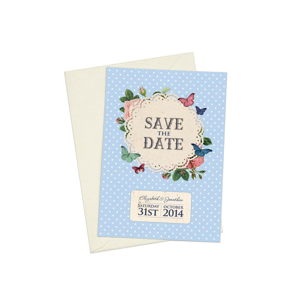 Butterfly Garden A6 Save The Date card & Envelope