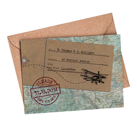 Vintage Travel A6 Save The Date card & Envelope