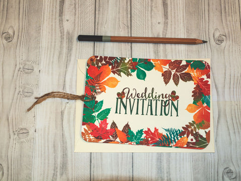Autumn Leaves Colour A6 Hand-tied invitation (Ivory) (3 cards)