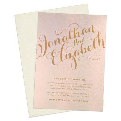 Gold Calligraphy A6 Evening Invitation