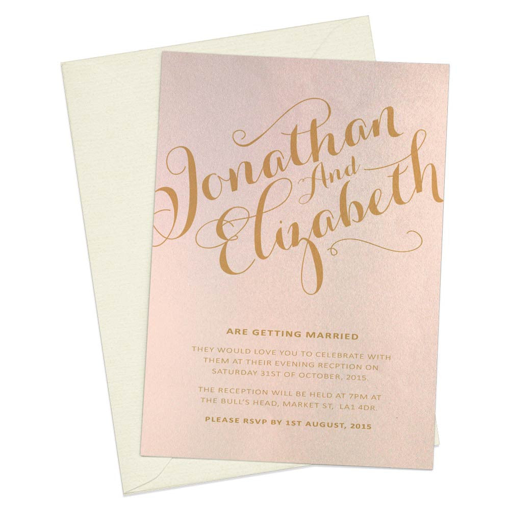 Gold Calligraphy A6 Evening Invitation Paper Willow Stationery