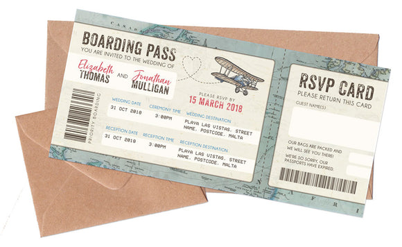 Boarding Pass Tickets & Envelopes to match NEW Vintage Travel Passport
