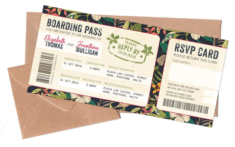 Boarding Passes & Envelopes to match NEW Tropical Travel Passport
