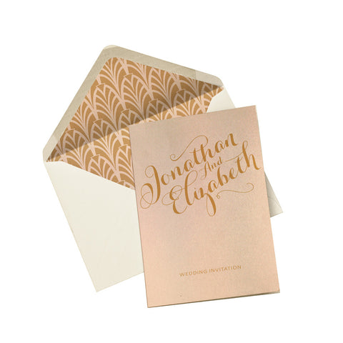Gold Calligraphy A6 Folded Invitation