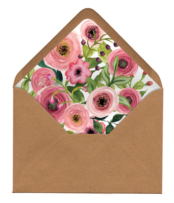 Watercolour Venue (Pink Flowers) Envelope Liners