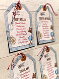 NEW Vintage Travel Table Plan Luggage Tags