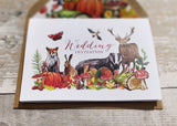 Autumn Woodland Animals A6 Bi-fold concertina Invitation with cut-off RSVP card