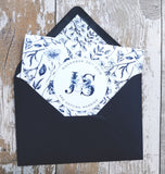 Navy & White Botanical A6 Tri-fold concertina Invitation with cut-off RSVP card