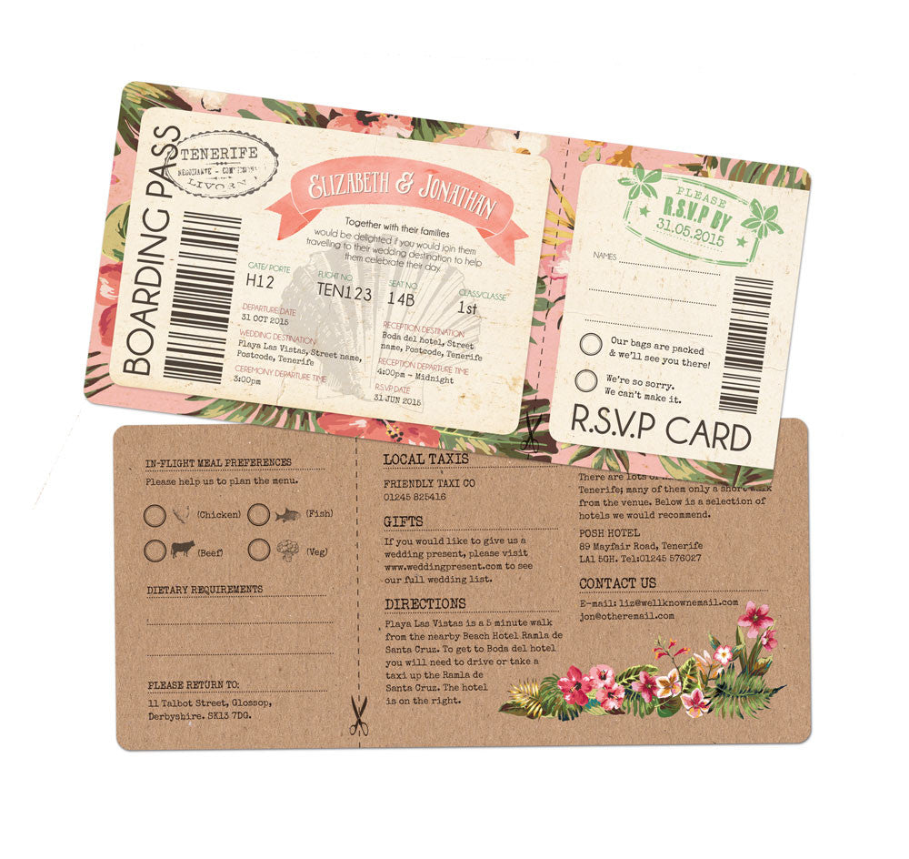 Tropical Travel Boarding Pass Invitation