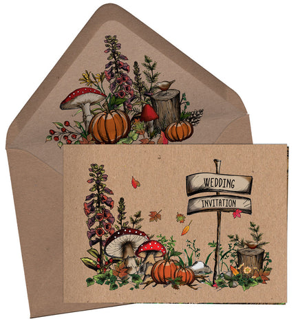 Woodland Walk A6 Folded Landscape Invitation (Autumn Theme)