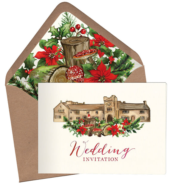 Winter Woodland Venue A6 Folded Landscape Invitation
