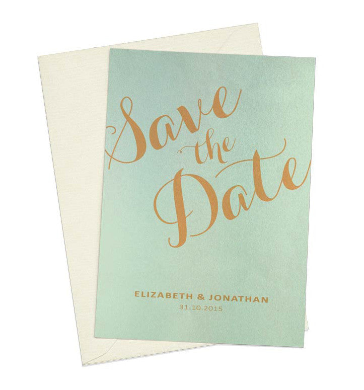 Gold Calligraphy A6 Save The Date card & Envelope