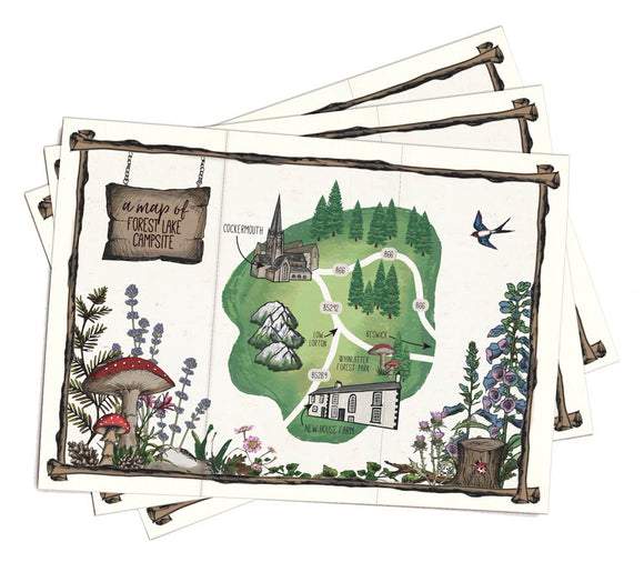 A5 paper folded map to match woodland booklet invitation (3 buildings included)