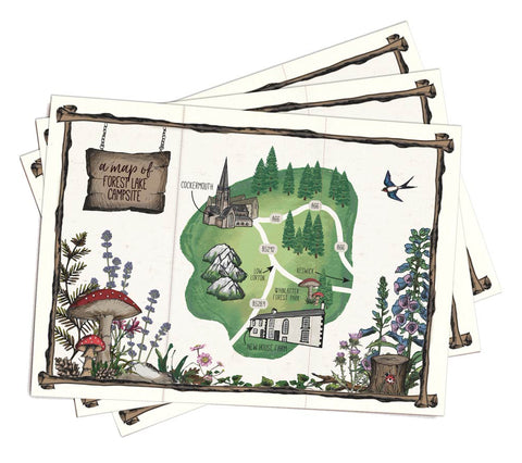 A5 paper folded map to match woodland booklet invitation