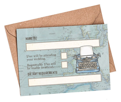 RSVP Cards & Envelopes to match NEW Vintage Travel Passport