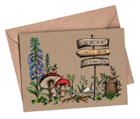 Woodland Walk A6 Save The Date card & Envelope