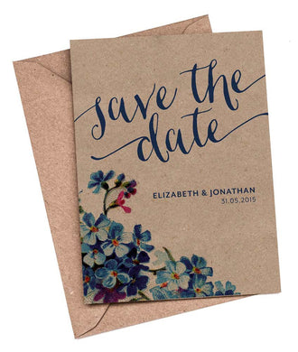 Forget-me-not A6 Save The Date card & Envelope